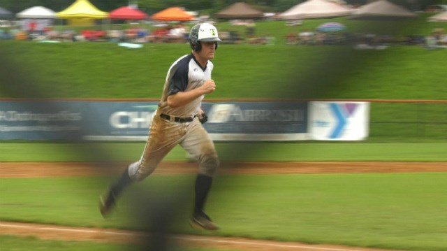 Nickolas Oar scores during Charlottesville's five run 6th inning