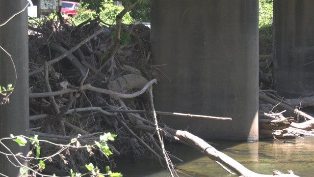 Debris around Crofton Bridge in Fluvanna County