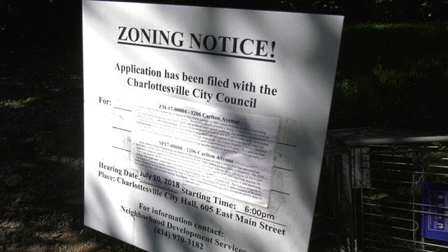 Zoning notice sign on Carlton Avenue property