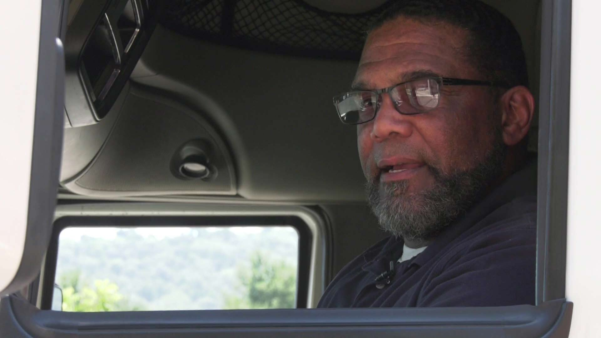 Truck driver Timothy Jackson is getting his license renewed.