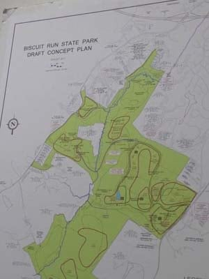 Map of plans for Biscuit Run Park