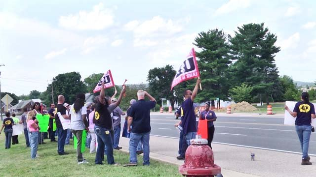Employees protested working conditions on Thursday, July 12