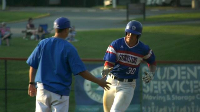 Brett Willett celebrates his home run