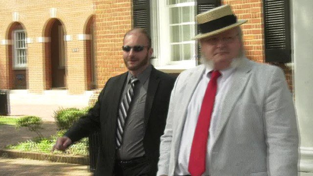 Chris Cantwell (LEFT) and defense attorney Elmer Woodard (RIGHT) leaving Albemarle Circuit Court