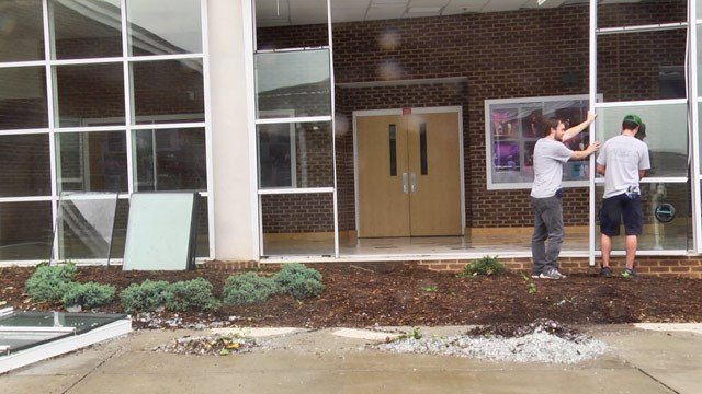 Repairs underway at Monticello High School following a storm