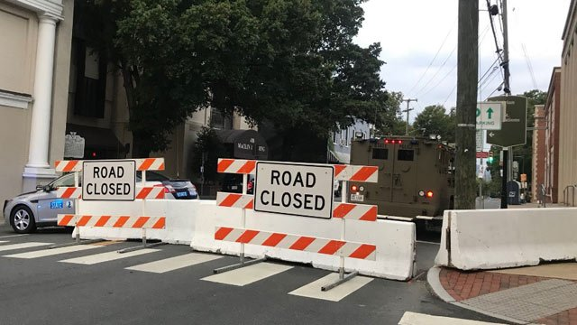 Portion of Market Street blocked off to traffic
