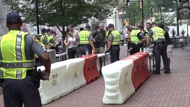 Security checkpoint on the Downtown Mall