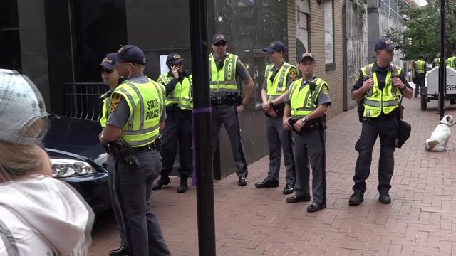 Members of Virginia State Police on the Downtown Mall