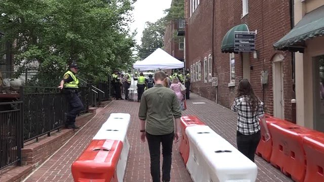 Security checkpoint on the Downtown Mall during the anniversary of August 12th (FILE IMAGE)