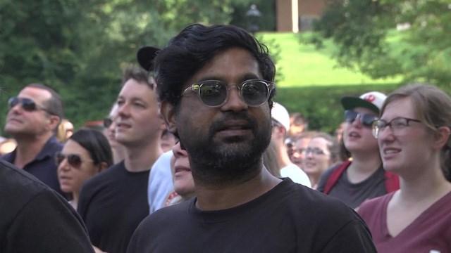 Protesters gathered at Washington Park on Sunday.