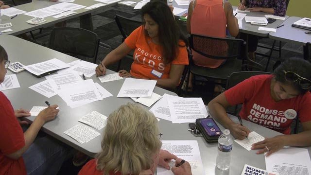 People with Moms Demand Action wrote letters to lawmakers on Aug. 13