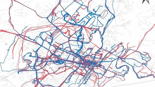 Commuters (Blue) vs. Recreational (Red) Bikers