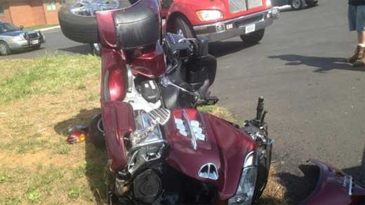 Motorcycle involved in Afton crash.