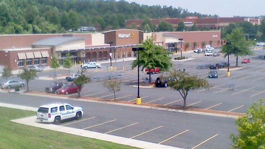 Police respond to reports of a suspicious package at the Walmart on Route 29 in Albemarle County.