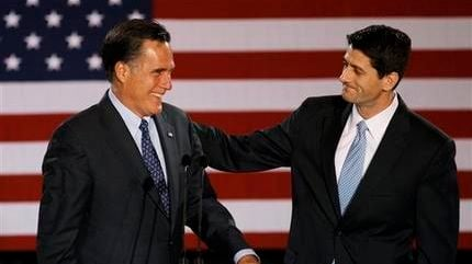 AP FILE - House Budget Committee Chairman Rep. Paul Ryan, R-Wis. introduces Republican presidential candidate, former Massachusetts Gov. Mitt Romney before Romney spoke at the Grain Exchange in Milwaukee, in this April 3, 2012 file photo.