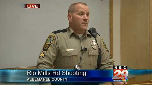 Sgt. Jerry Utz holds media briefing on shooting incident.