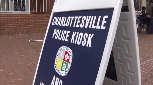 Charlottesville ambassador kiosk on the downtown mall