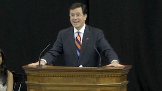 Stephen Colbert delivering the valedictory address at UVA Saturday.