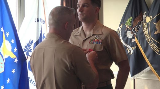 Captain Daniel O'Brien is presented with the Bronze Star