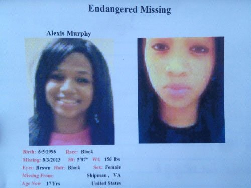 Alexis Murphy, 17, Missing Since August 3, 2013 -- Suspect In Custody -- Nelson County, VA 23057973_BG1