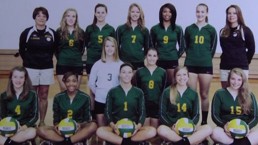 Nelson County High School girl's volleyball team. Alexis Murphy pictured wearing #9