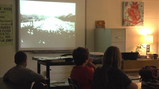 "Shelburne Middle students watch ""I Have a Dream"" speech"