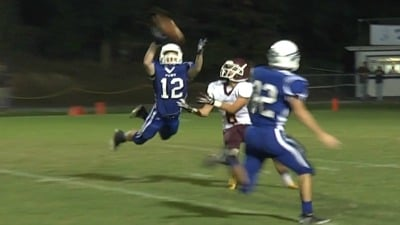 Kyle McManus intercepts the pass for Fort Defiance