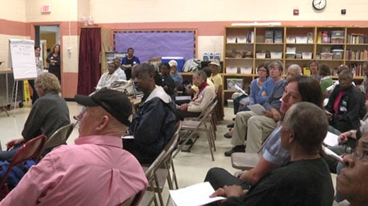 Town hall meeting at Yancey Elementary School