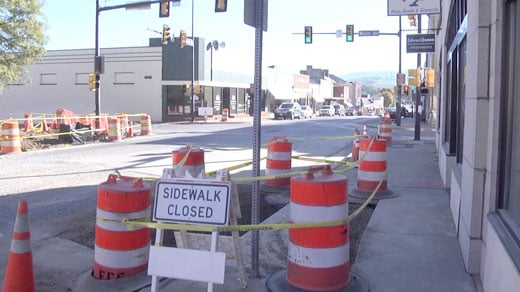 Closed sidewalks in Waynesboro