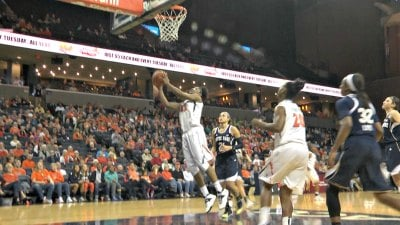 Sarah Imovbioh had 18 points and 12 rebounds