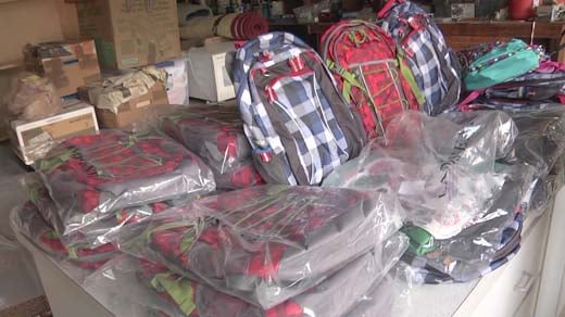 Backpacks collected by Backpack Buddies charity