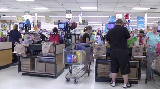 Customers checking out at Kroger