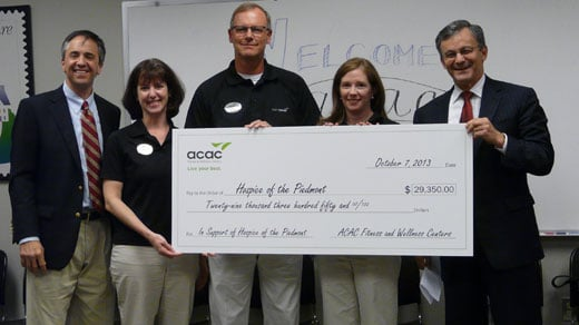 ACAC check present to Hospice of the Piedmont