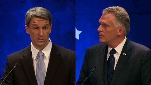 Left, Ken Cuccinelli; Right, Terry McAuliffe