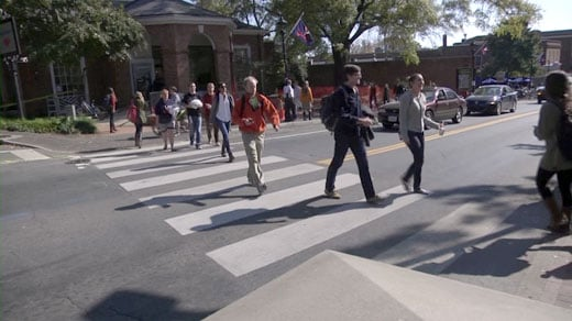 UVA students crossing the street