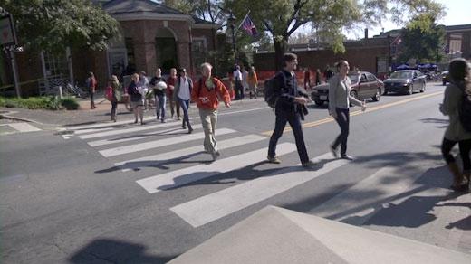 UVA students crossing the street