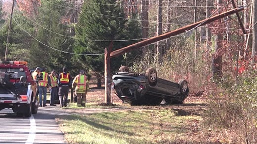 Flipped minivan just south of Plank Road