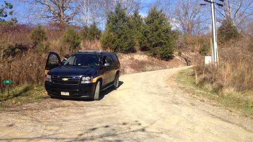 Photo from scene in Bath County outside Creigh Deed's home from WSLS