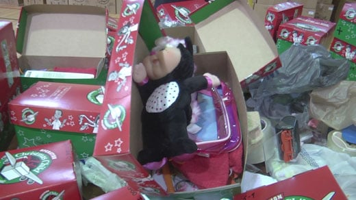 Shoeboxes filled with toys
