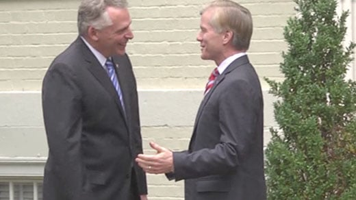 left to right: Terry McAuliffe and Bob McDonnell, on November 7