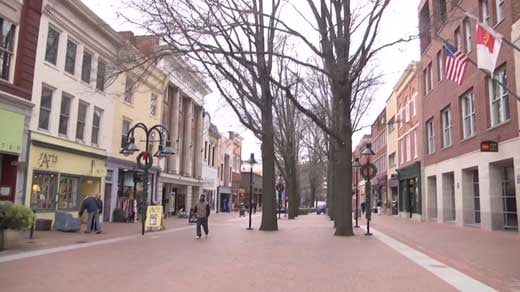 The downtown mall in Charlottesville