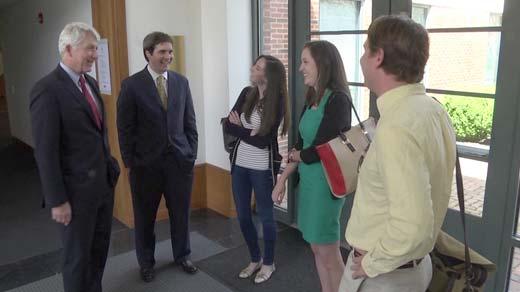 Mark Herring talks with UVA law students