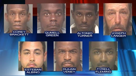 Seven men facing distribution of narcotics within 1,000 feet or school or library