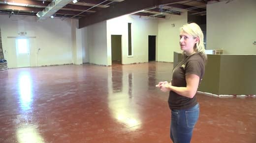 Melissa Allen walks through what will soon be Augusta County's first microbrewery.
