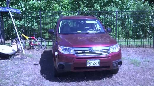 Field's Subaru Forester, found at the park and ride at Zion Crossroads