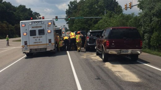 Crews at the scene of four-car crash, photo courtesy of the Waynesboro PD