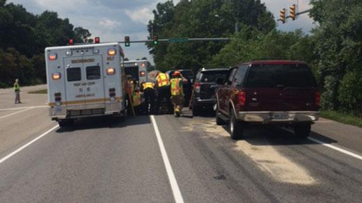 Crews at the scene of four-car crash, photo courtesy of the Waynesboro PD