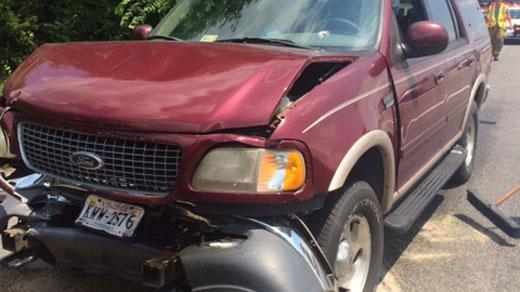 Car involved in four-car crash, photo courtesy of Waynesboro PD