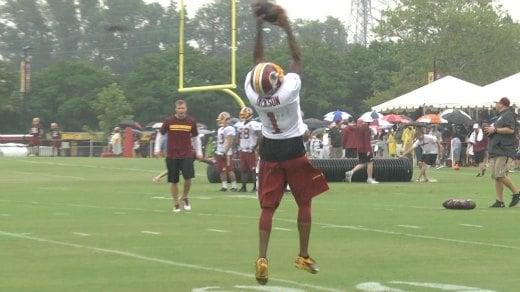 DeSean Jackson catching passes at Redskins Training Camp in Richmond
