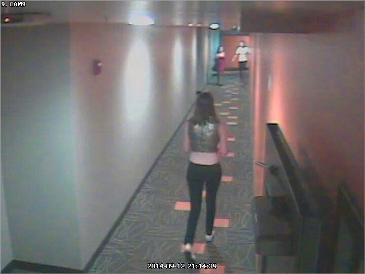 Surveillance Photo: Graham the night she was last seen, in hallway of building she lives in.